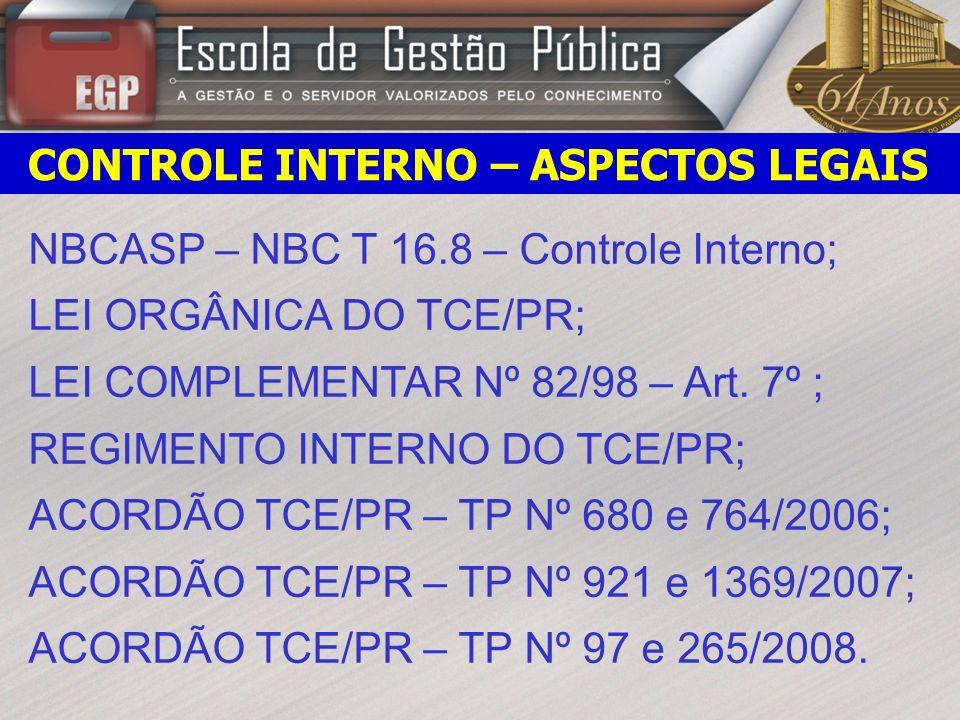 CONTROLE INTERNO – ASPECTOS LEGAIS