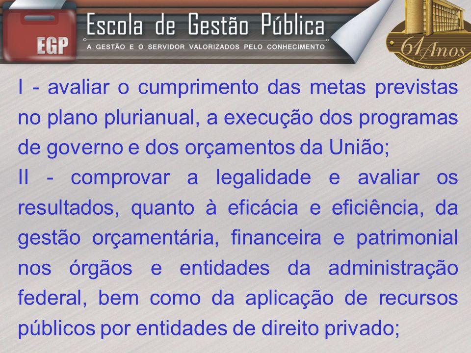 I - avaliar o cumprimento das metas previstas no plano plurianual, a execução dos programas de governo e dos orçamentos da União;