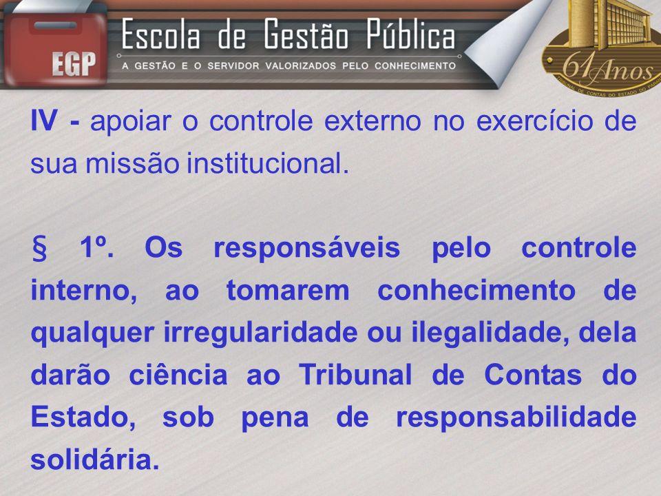 IV - apoiar o controle externo no exercício de sua missão institucional.