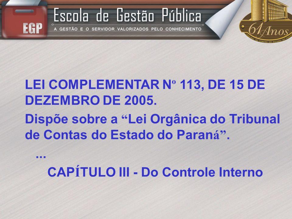 CAPÍTULO III - Do Controle Interno