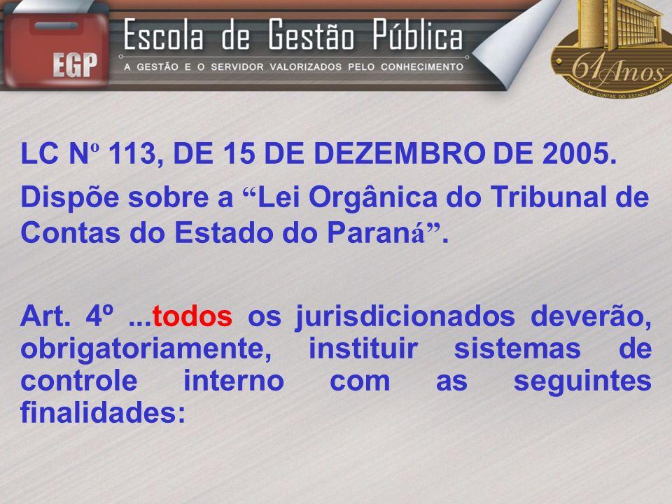 LC Nº 113, DE 15 DE DEZEMBRO DE 2005. Dispõe sobre a Lei Orgânica do Tribunal de Contas do Estado do Paraná .