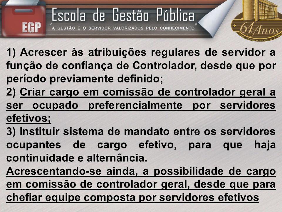 1) Acrescer às atribuições regulares de servidor a função de confiança de Controlador, desde que por período previamente definido;