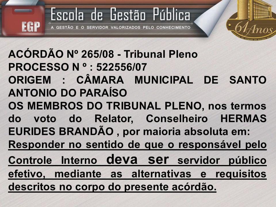 ACÓRDÃO Nº 265/08 - Tribunal Pleno