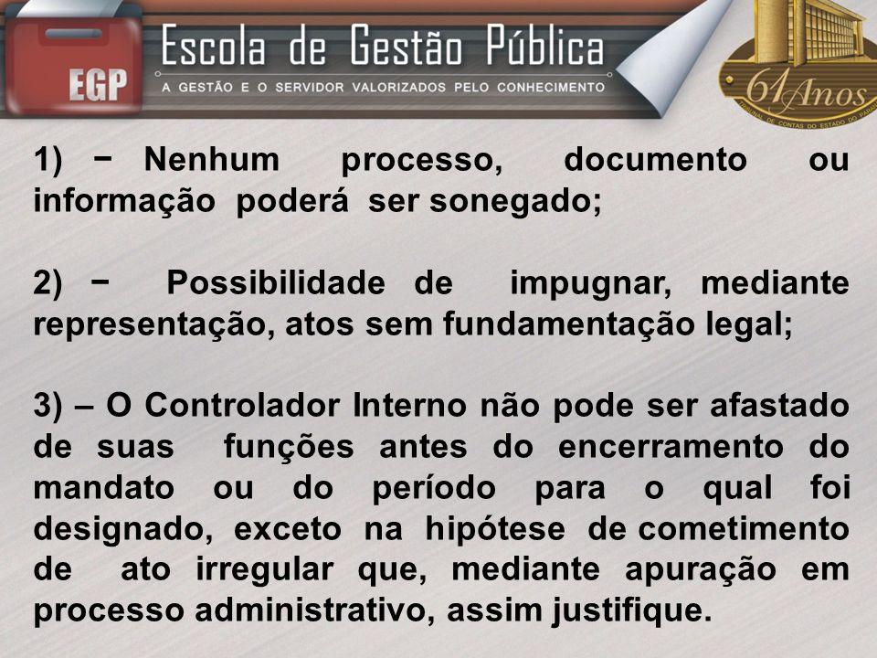 1) − Nenhum processo, documento ou informação poderá ser sonegado;