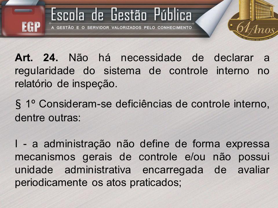 Art. 24. Não há necessidade de declarar a regularidade do sistema de controle interno no relatório de inspeção.