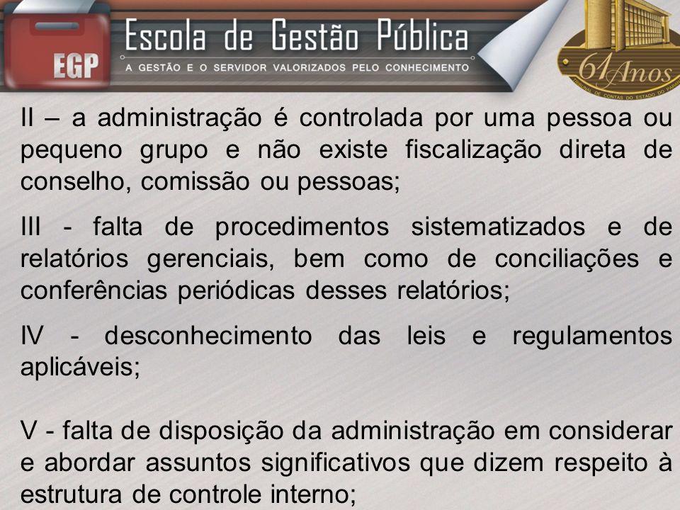 II – a administração é controlada por uma pessoa ou pequeno grupo e não existe fiscalização direta de conselho, comissão ou pessoas;