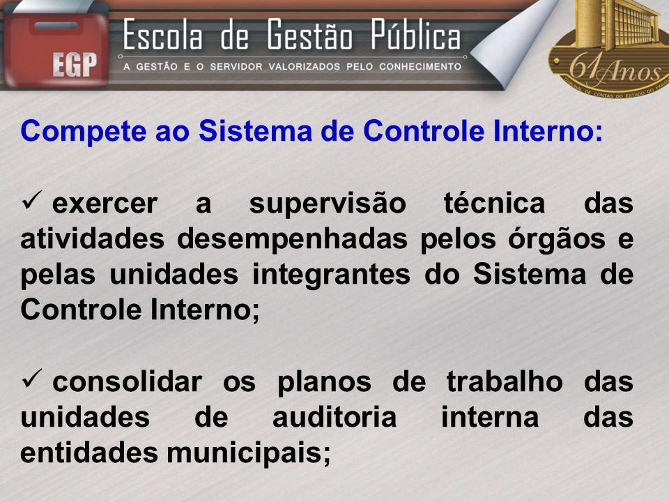 Compete ao Sistema de Controle Interno: