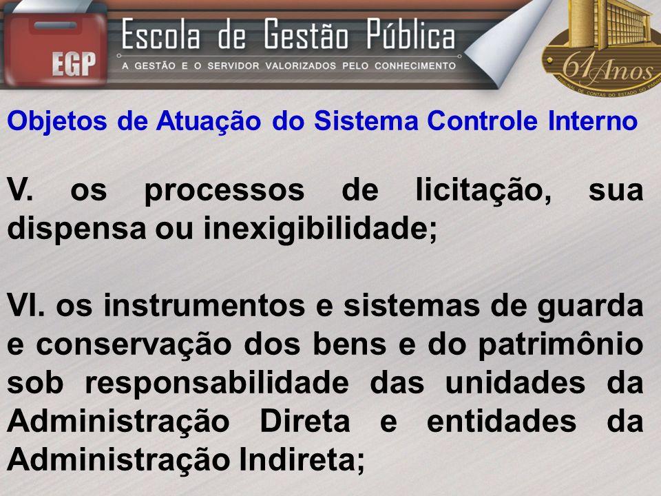 V. os processos de licitação, sua dispensa ou inexigibilidade;
