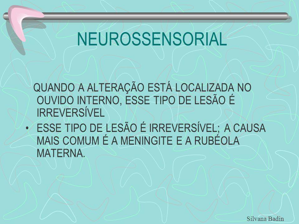 NEUROSSENSORIAL QUANDO A ALTERAÇÃO ESTÁ LOCALIZADA NO OUVIDO INTERNO, ESSE TIPO DE LESÃO É IRREVERSÍVEL.