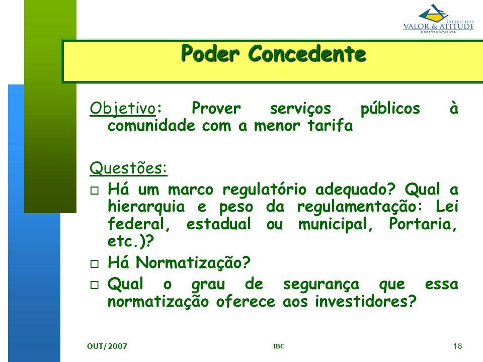 Poder Concedente Objetivo: Prover serviços públicos à comunidade com a menor tarifa. Questões:
