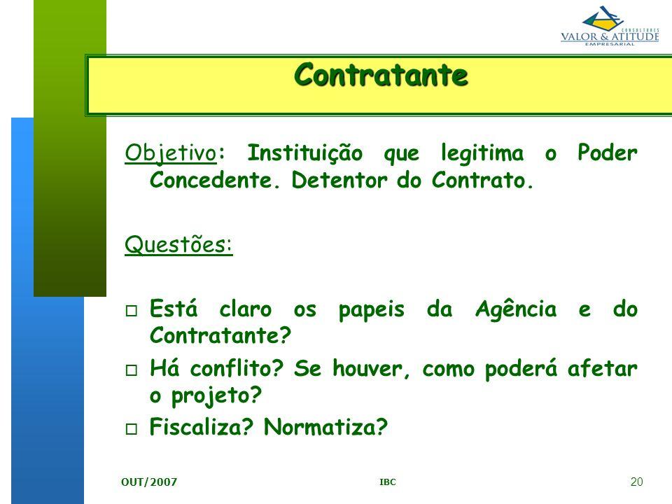 Contratante Objetivo: Instituição que legitima o Poder Concedente. Detentor do Contrato. Questões: