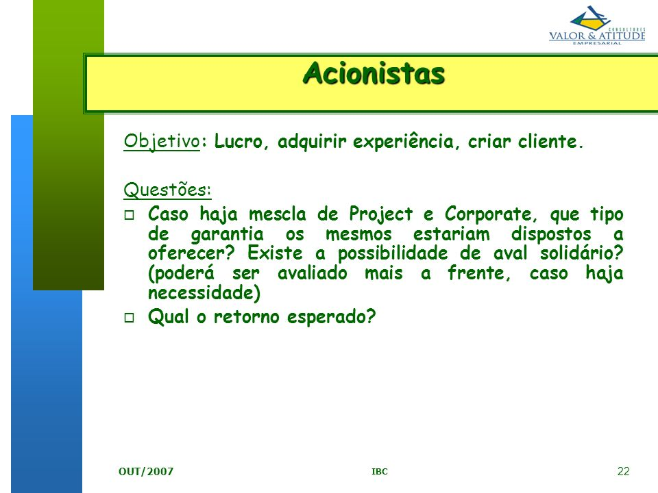 Acionistas Objetivo: Lucro, adquirir experiência, criar cliente.