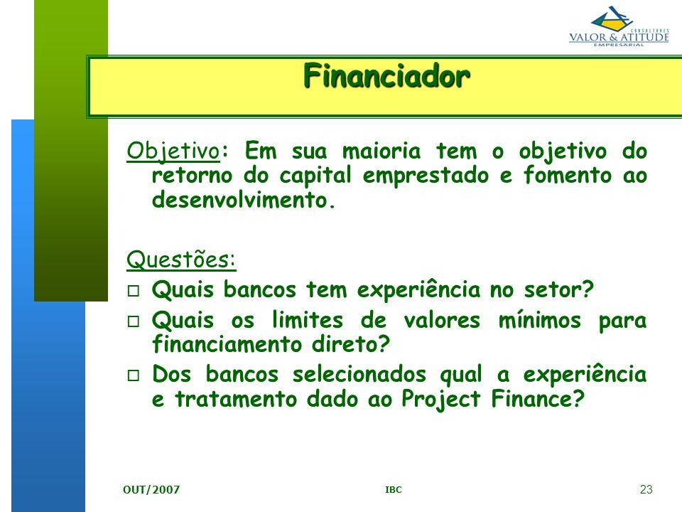 Financiador Objetivo: Em sua maioria tem o objetivo do retorno do capital emprestado e fomento ao desenvolvimento.