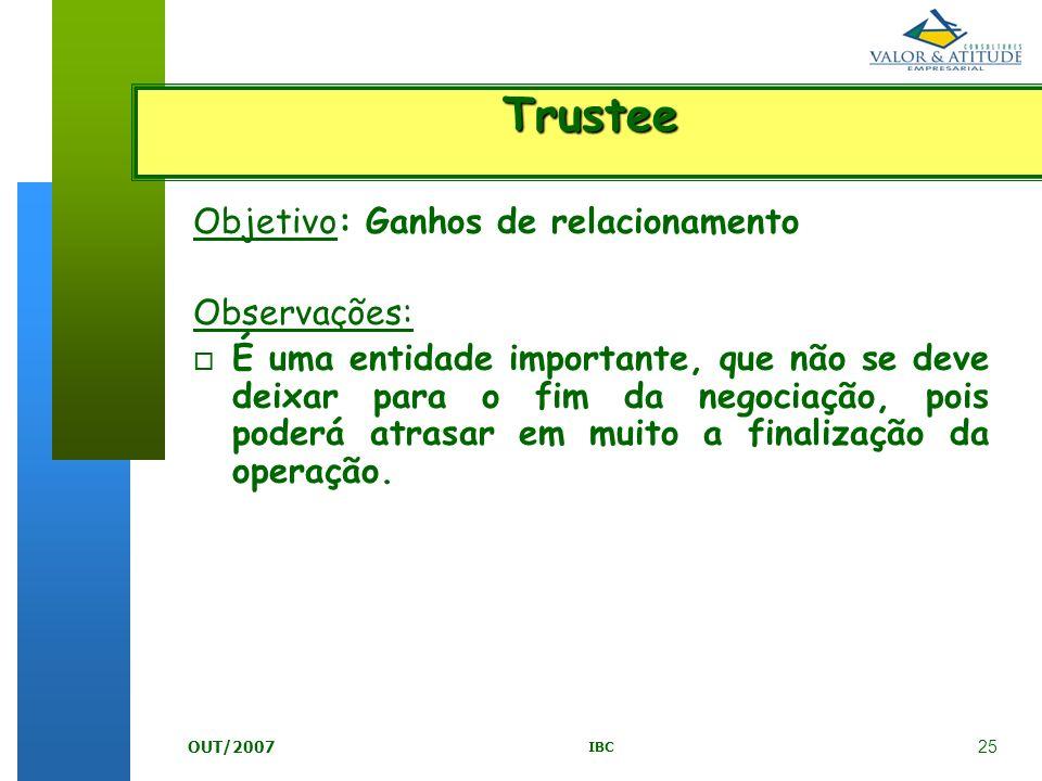 Trustee Objetivo: Ganhos de relacionamento Observações: