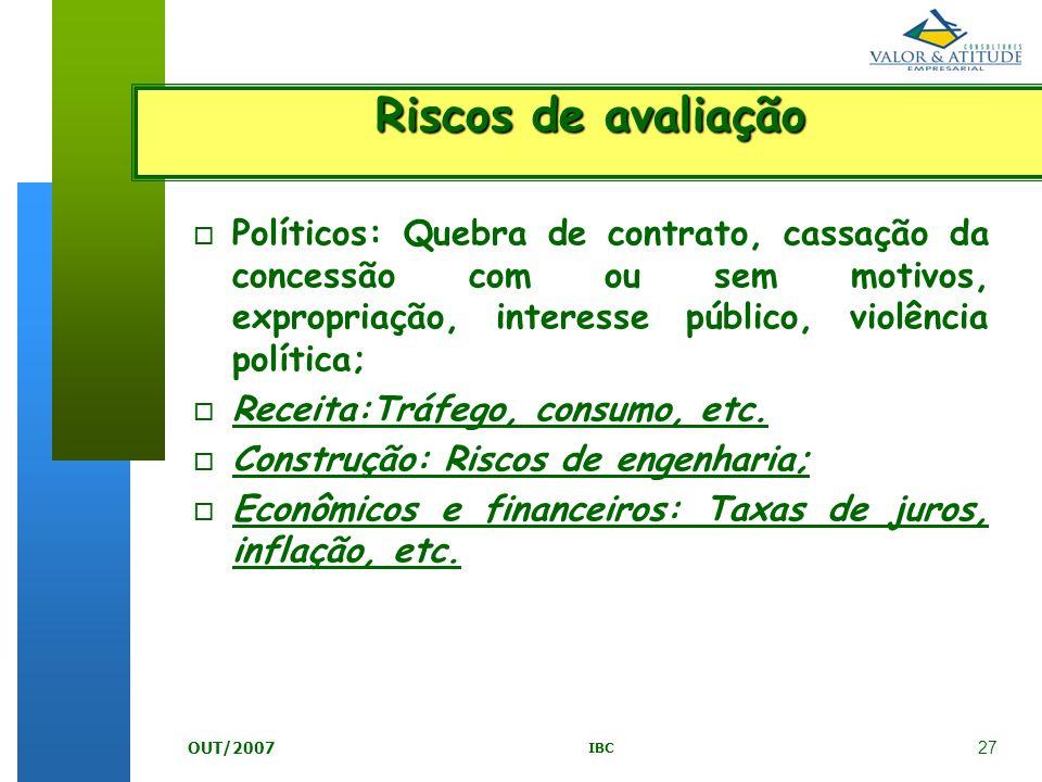 Riscos de avaliação Políticos: Quebra de contrato, cassação da concessão com ou sem motivos, expropriação, interesse público, violência política;