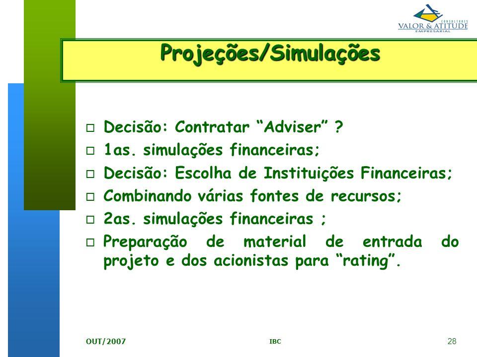 Projeções/Simulações