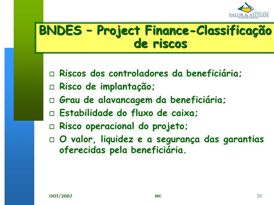 BNDES – Project Finance-Classificação de riscos