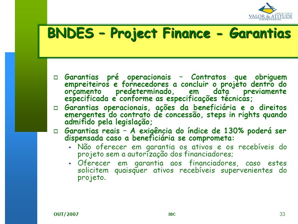 BNDES – Project Finance - Garantias