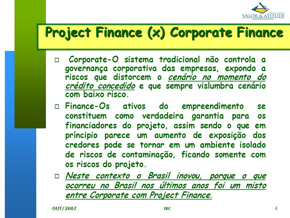 Project Finance (x) Corporate Finance