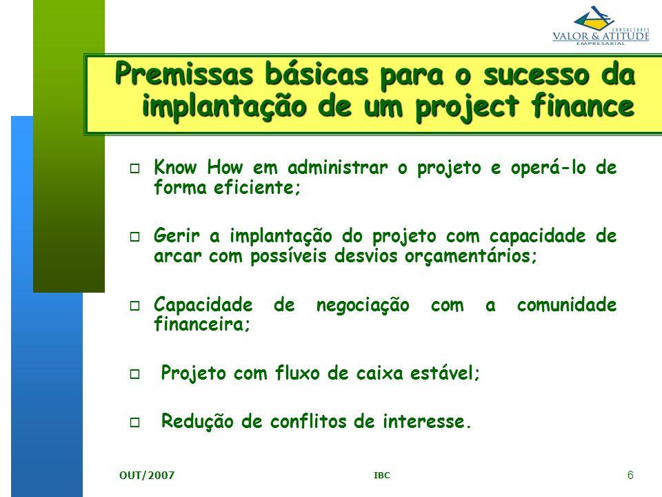 Premissas básicas para o sucesso da implantação de um project finance