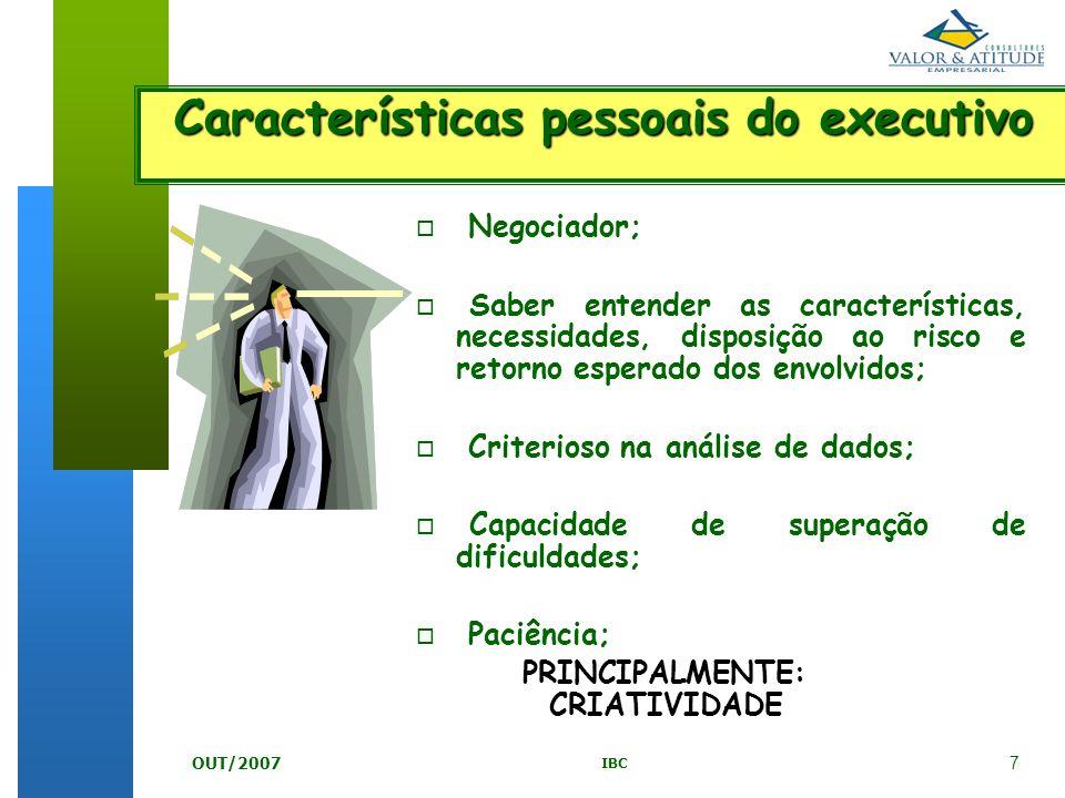 Características pessoais do executivo