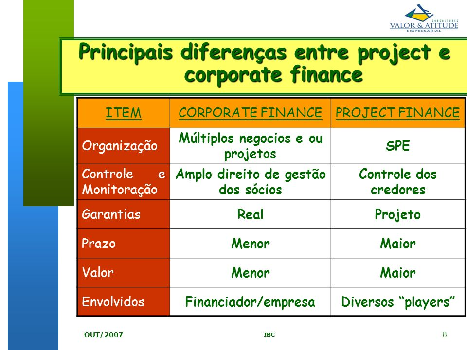 Principais diferenças entre project e corporate finance
