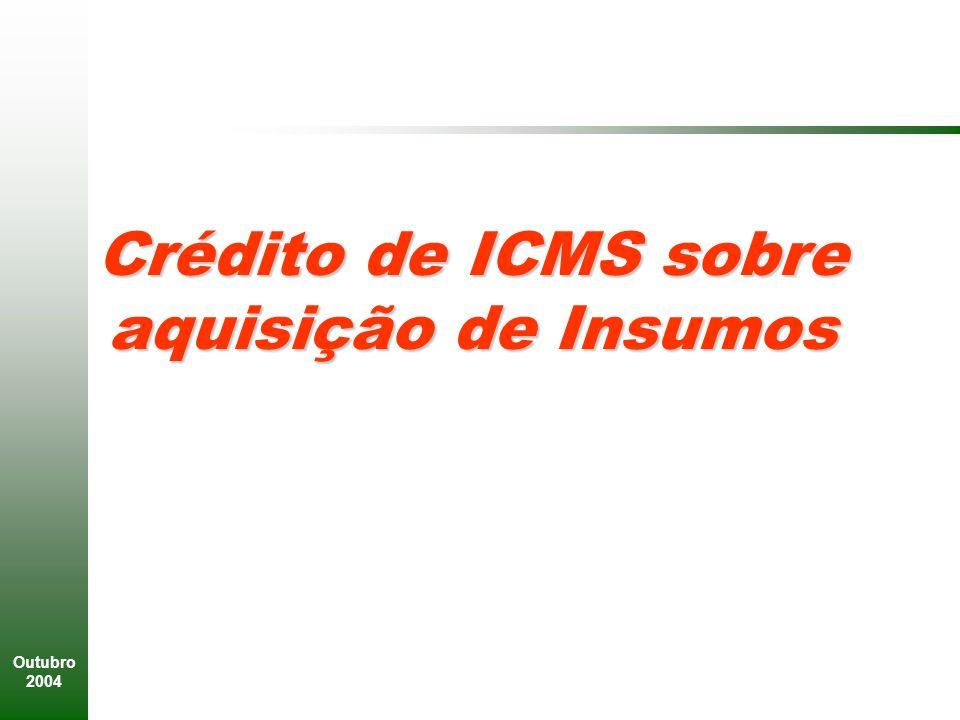 Crédito de ICMS sobre aquisição de Insumos