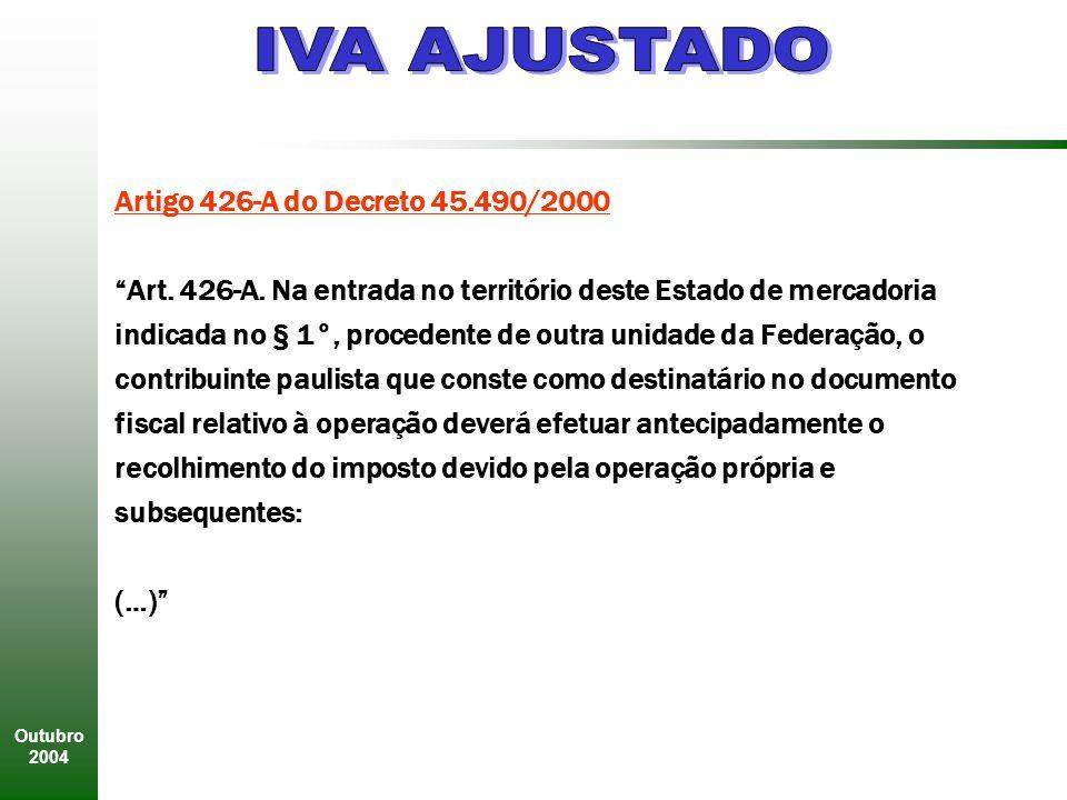 IVA AJUSTADO Artigo 426-A do Decreto 45.490/2000