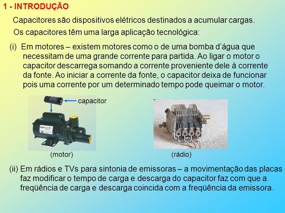 Capacitores são dispositivos elétricos destinados a acumular cargas.