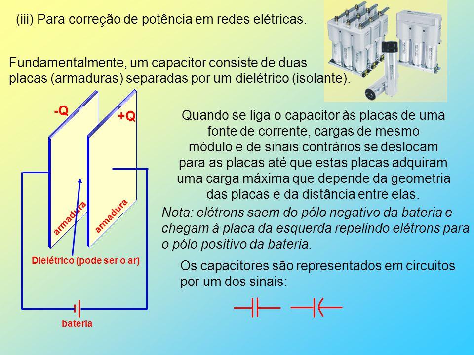 (iii) Para correção de potência em redes elétricas.