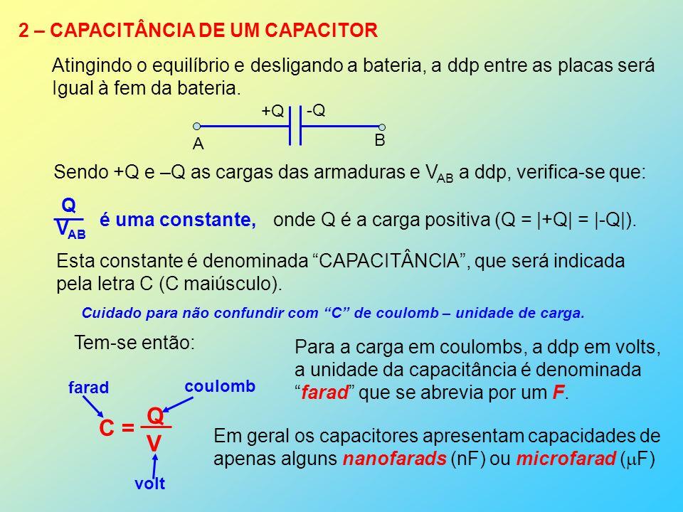 Q C = V 2 – CAPACITÂNCIA DE UM CAPACITOR