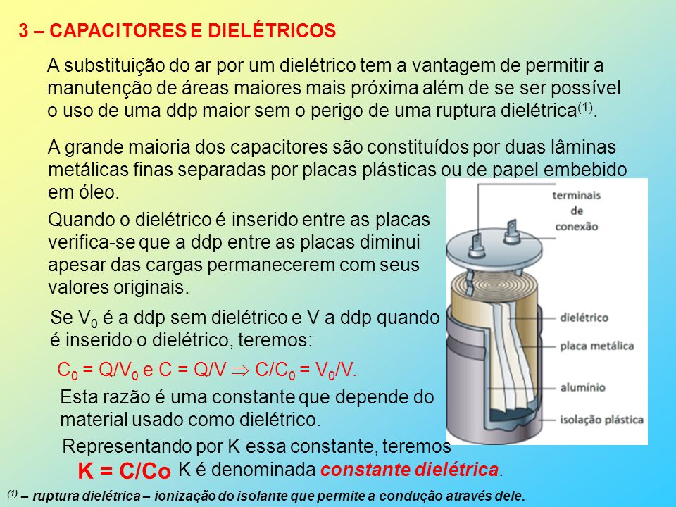 K = C/Co 3 – CAPACITORES E DIELÉTRICOS