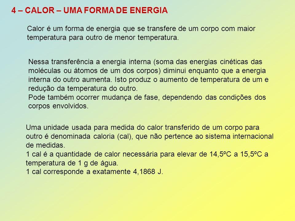 4 – CALOR – UMA FORMA DE ENERGIA