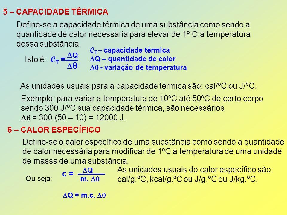 Define-se a capacidade térmica de uma substância como sendo a