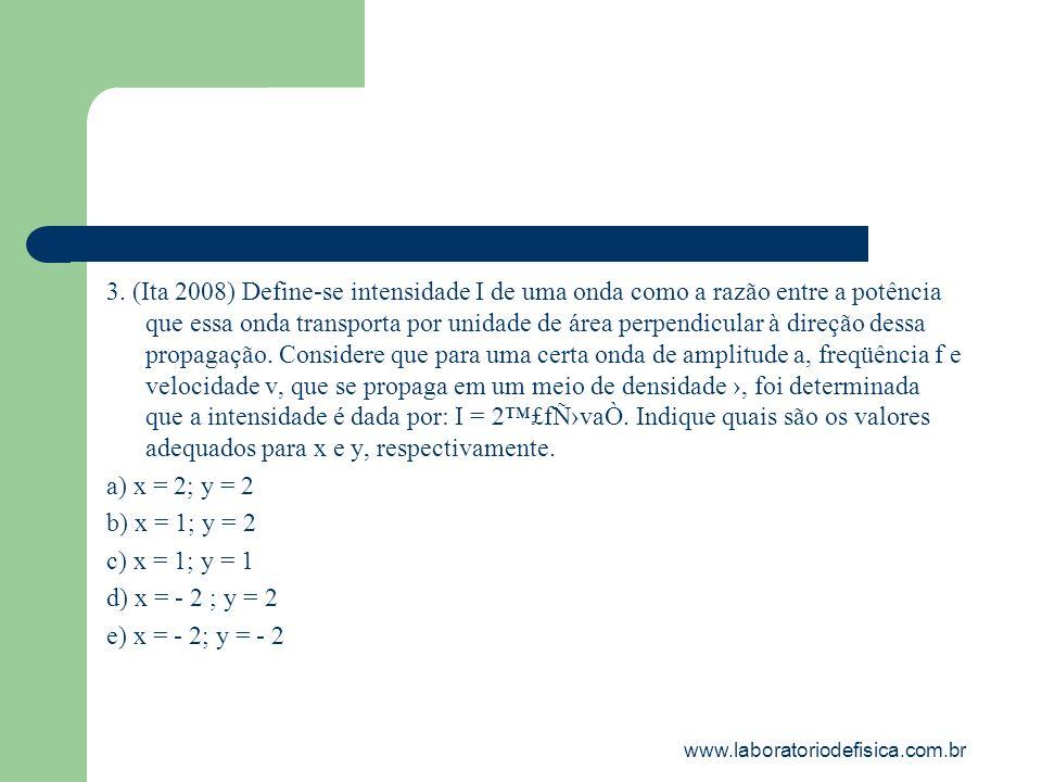 3. (Ita 2008) Define-se intensidade I de uma onda como a razão entre a potência que essa onda transporta por unidade de área perpendicular à direção dessa propagação. Considere que para uma certa onda de amplitude a, freqüência f e velocidade v, que se propaga em um meio de densidade ›, foi determinada que a intensidade é dada por: I = 2™£fÑ›vaÒ. Indique quais são os valores adequados para x e y, respectivamente.