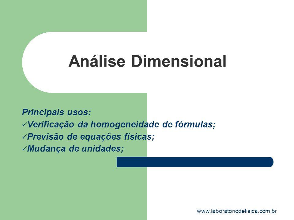 Análise Dimensional Principais usos: