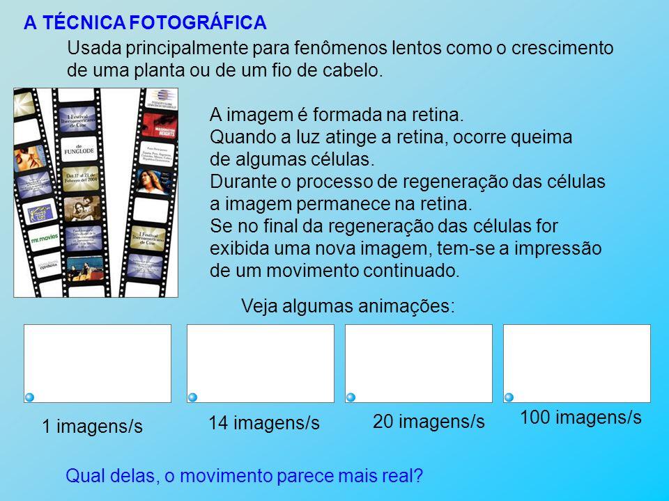 A TÉCNICA FOTOGRÁFICA Usada principalmente para fenômenos lentos como o crescimento. de uma planta ou de um fio de cabelo.