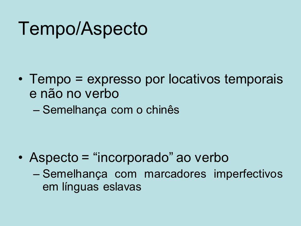 Tempo/Aspecto Tempo = expresso por locativos temporais e não no verbo