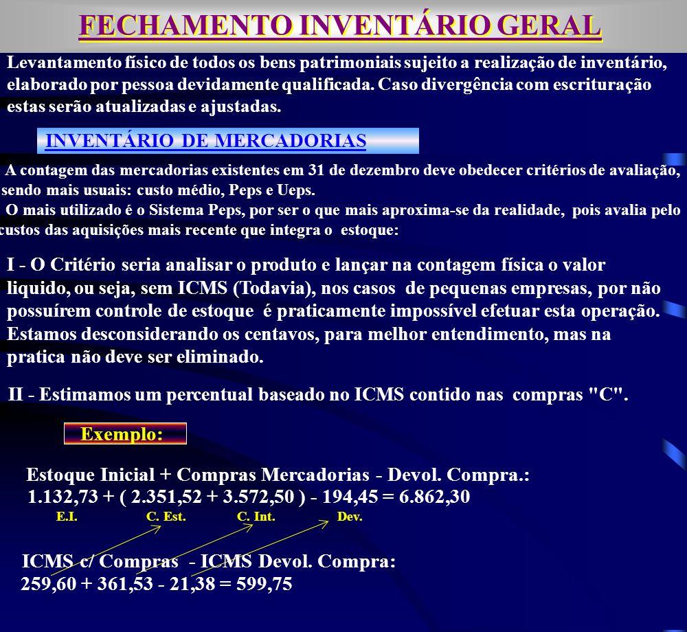 FECHAMENTO INVENTÁRIO GERAL