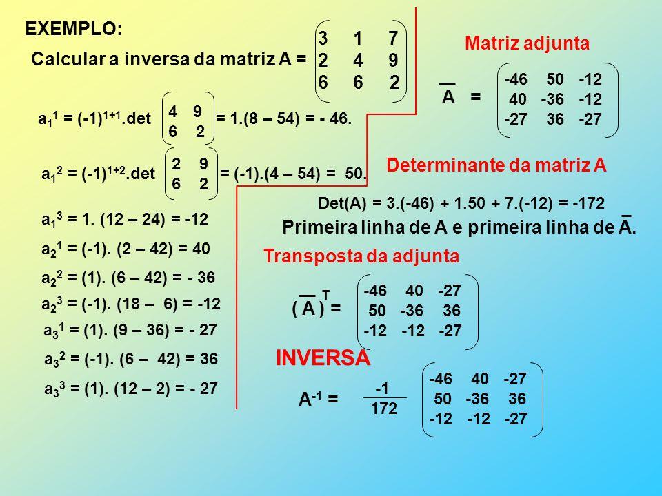 INVERSA EXEMPLO: Calcular a inversa da matriz A = 1 7 4 9 6 6 2