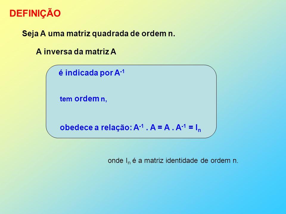 DEFINIÇÃO Seja A uma matriz quadrada de ordem n. A inversa da matriz A