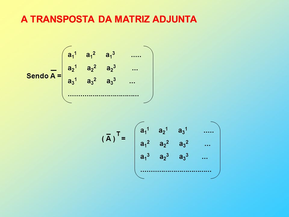 A TRANSPOSTA DA MATRIZ ADJUNTA