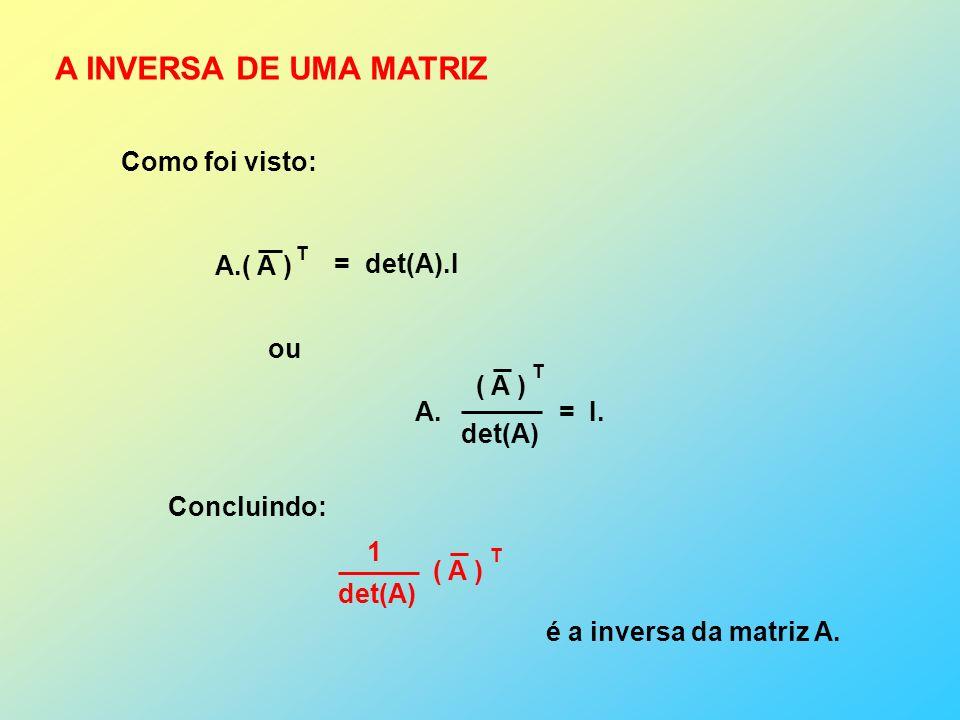 A INVERSA DE UMA MATRIZ Como foi visto: A.( A ) = det(A).I ou ( A )