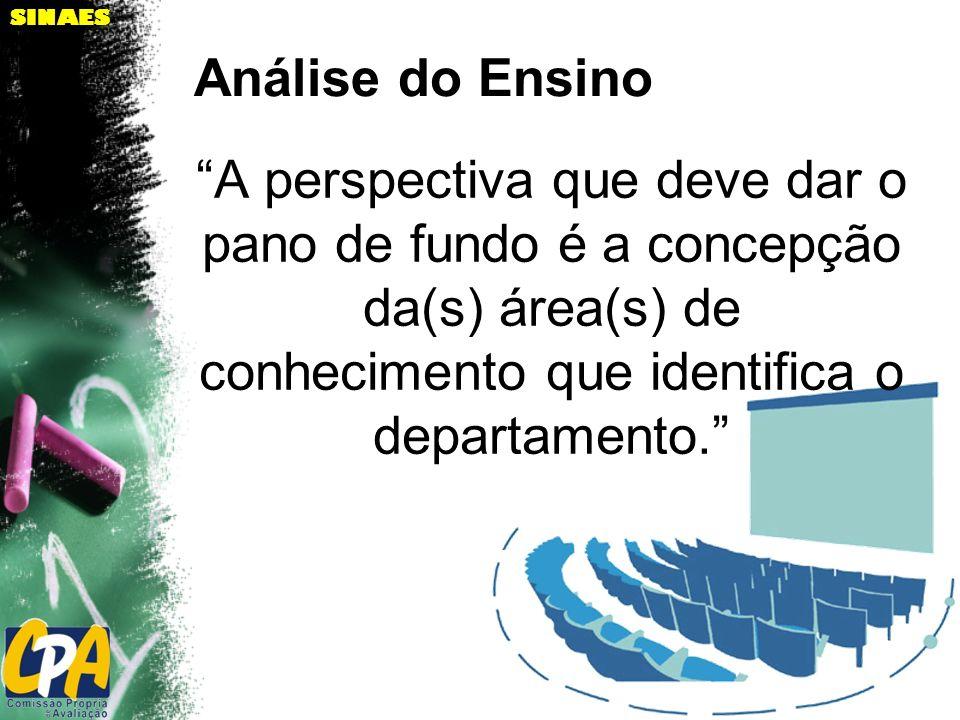 Análise do Ensino A perspectiva que deve dar o pano de fundo é a concepção da(s) área(s) de conhecimento que identifica o departamento.