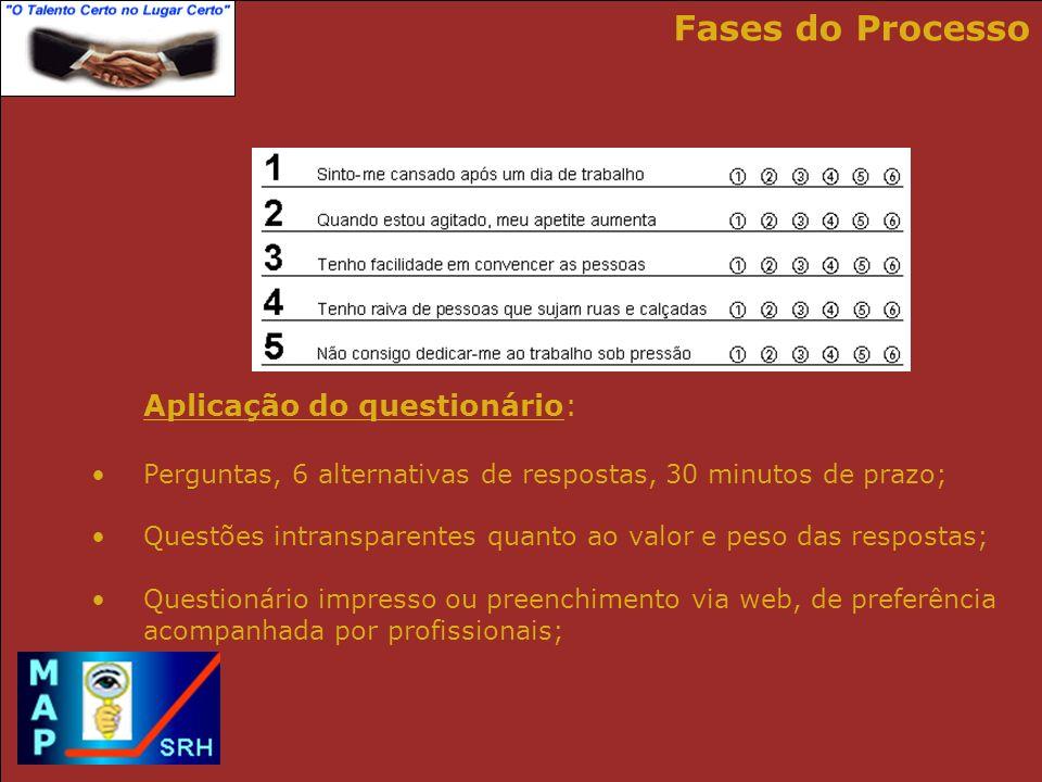 Fases do Processo Aplicação do questionário:
