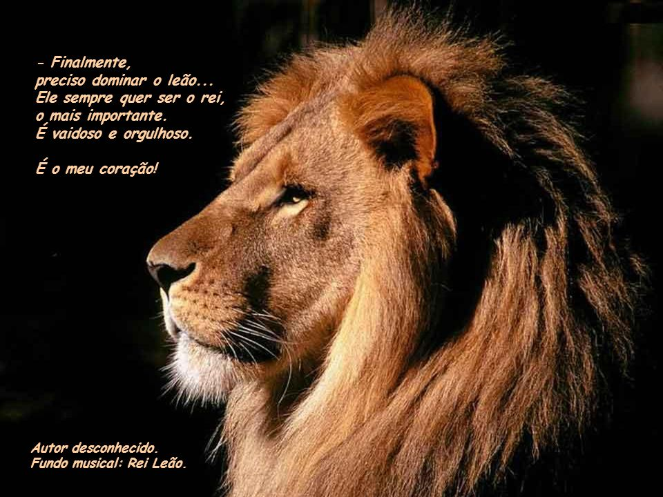- Finalmente, preciso dominar o leão...