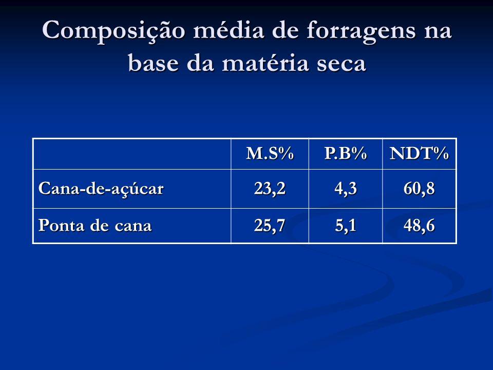 Composição média de forragens na base da matéria seca