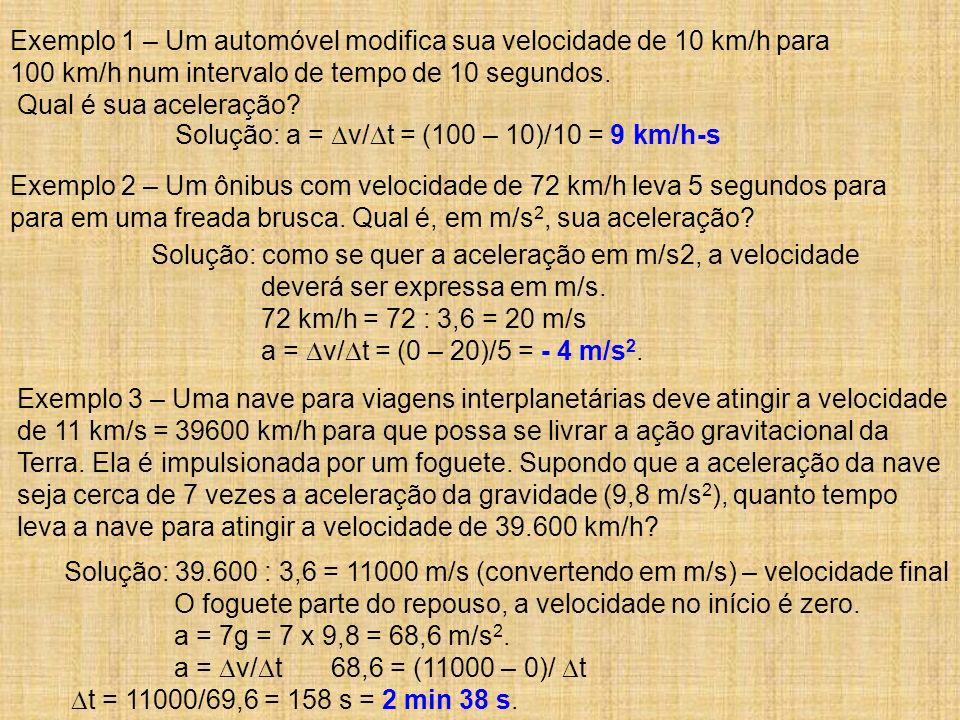 Exemplo 1 – Um automóvel modifica sua velocidade de 10 km/h para