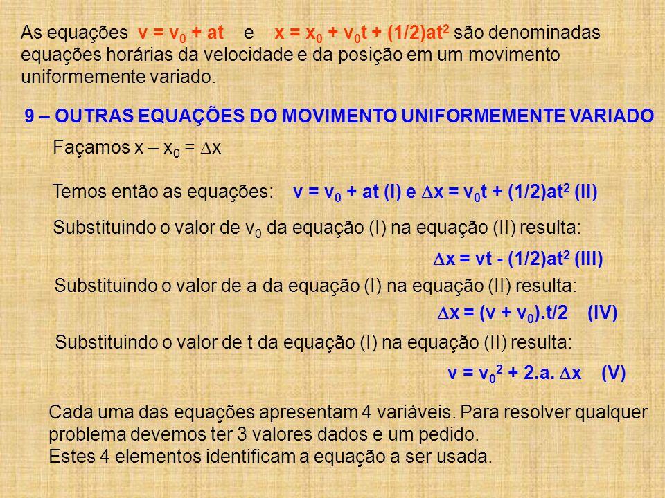 As equações v = v0 + at e x = x0 + v0t + (1/2)at2 são denominadas