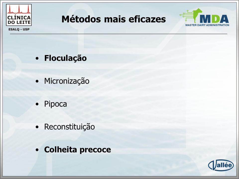Métodos mais eficazes Floculação Micronização Pipoca Reconstituição